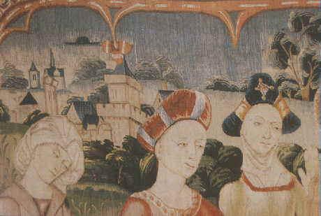 Essa incrível tapeçaria chamada Cenas da Vida da Virgem Maria nos mostra no canto superior esquerdo imensa evidência de presença alienígena durante o período medieval