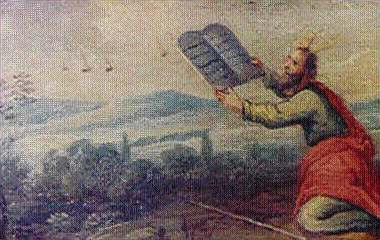 Nessa pintura de Moisés recebendo as Tábulas da Lei, objetos indistintos pairam no horizonte.