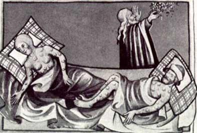 Imgem de uma bíblia de 1411, onde um sacerdote reza por dois doentes