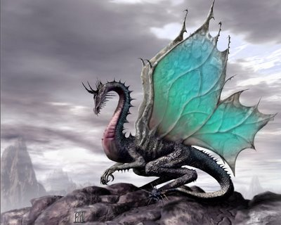 Aqui, o artista foi um pouco mais longe, talvez inspirado pela cultura celta dotou o dragão com asas de fada.