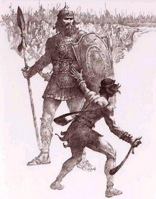 Pedras são as armas de David, que deve acertá-las no crânio do gigante.