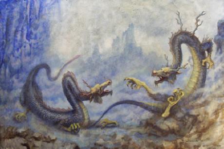 Dragões chineses, serpentiformes, muito ligados ao reino aquático.