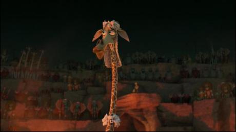 A girafa macho Melman, vestida de maneira apropriada e cômica.